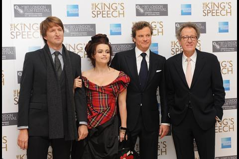 At The King's Speech gala: director Tom Hooper with stars Helena Bonham Carter, Colin Firth, and Geoffrey Rush